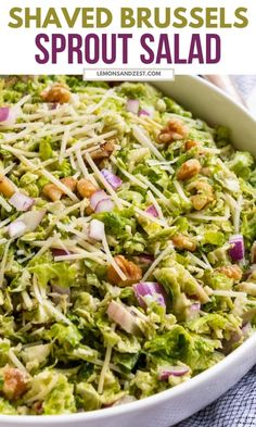 This simple shaved brussel sprout salad comes together in no time and is certain to be a crowd pleaser! Creamy dijon mustard, olive oil and a touch of sea salt and pepper are all you need to dress this salad--all things you probably have in the pantry now! #shavedbrusselssprout #brusselsproutsalad #brusselssprout #summersalad Shaved Brussel Sprout Salad, Shredded Brussel Sprouts, Sprouts Salad, Brussels Sprouts, Fresh Salad Recipes, Salad Recipes For Dinner, Appetizer Recipes, Lunch Recipes, Salads For A Crowd
