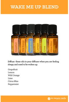 Essential Oils Chart - How to Use Essential Oils doTERRA Wake Me Up Blend Recipe