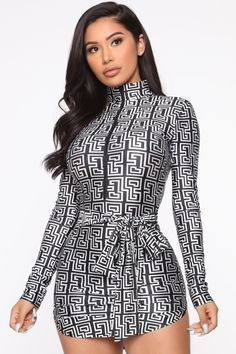 Available In Black/WhiteMini DressLong SleeveMock NeckZipper DetailTie Nylon 18 Spandex Made in U. Stylish Outfits, Fashion Outfits, Fashion Edgy, Micro Skirt, White Mini Dress, Dress Black, Womens Bodysuit, Black White Fashion, Fashion Nova Models