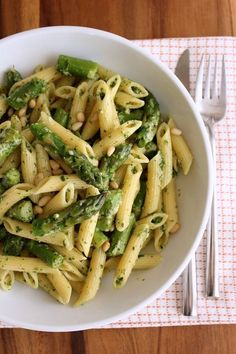 Penne with Asparagus and Lemon Pesto - Green Valley Kitchen                                                                                                                                                                                 Mais