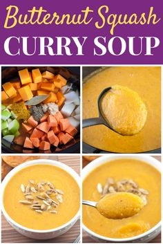 This Slow Cooker Curry Butternut Squash Soup Recipe is a great make-ahead healthy meal prep lunch or comfort food Fall dinner with sweet potato, apple, & curry. Make Ahead Healthy Meals, Healthy Comfort Food, Healthy Recipes For Weight Loss, Healthy Meal Prep, Healthy Living, Butternut Squash Soup Healthy, Chicken And Butternut Squash, Sweet Potato Dinner, Sweet Potato And Apple