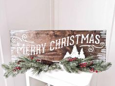 """Board & Brush personalized wooden """"Merry Christmas"""" sign."""