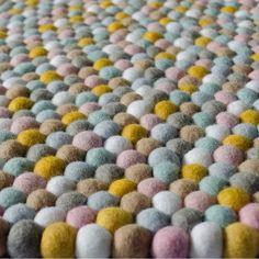 Winston and Grace Felt Ball Rug - candied almonds Felt Ball Rug, Candied Almonds, Lana, Area Rugs, Carpet, Blanket, Crochet, Handmade, Ship