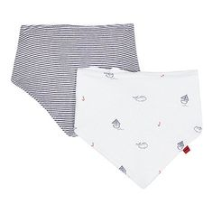 From bluezoo's fantastic range of children's clothing, these dribble bibs are nautical inspired essentials for a little one. A great gift for new parents, they are made from a rich cotton blend and finished in two designs; white with a whale and boat pattern and white with a navy stripe.
