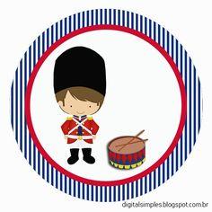Festa de Aniversário Soldadinho de Chumbo, azul marinho e vermelho, rótulos, bis duplo, caixa bala e muitos outros personalizados no tema Soldadinho de Chumbo.