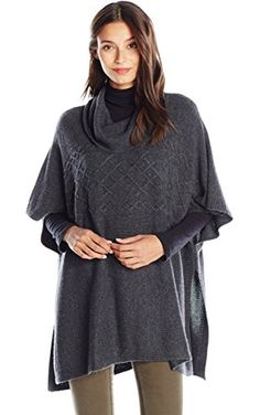 NYDJ Women's Cable Cowl Neck Poncho Sweater, Heather Charcoal, Medium ❤ NYDJ Women's Collection
