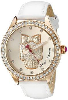 Betsey Johnson Women's Analog Display Quartz White Watch - My Sugar Skulls Quartz Jewelry, Skull Jewelry, Jewlery, Michael Kors Watch, Watch Bands, Biker, Ear Tattoos, Celtic Tattoos, Sleeve Tattoos