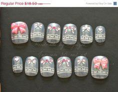 Summer SALE 3D nails white lolita fairy kei kawaii bows by Aya1gou, $17.20