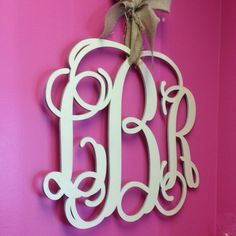 """Hanging wood monogram. This one is 18""""."""