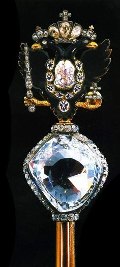 ORLOV DIAMOND~one of the biggest and most famous Imperial jewels known since 1784.The diamond could probably be the part of Great Mogul Diamond. In 1773 Grigoriy Orlov presented the jewel to Catherine II of Russia in her birthday, in a simple flowers bouquet trying to return her love; the present became outstanding within a few days as none of European monarchs has got the equal jewel in the collection. The diamond became a part of Russian Imperial scepter ca 1775.