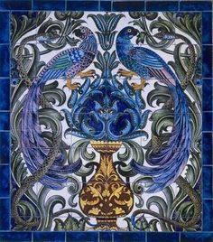 William De Morgan Tile Panel with Birds and Serpents