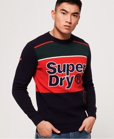 Discover the latest trends in menswear & womenswear at Superdry US. Superdry Style, Superdry Mens, Sweat Shirt, Blue Check Suit, Cotton Jumper, Moda Casual, Jeans Skinny, Men Style Tips, Mens Sweatshirts