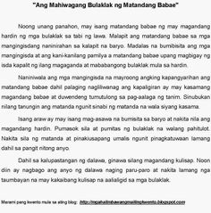 Short Story Example of Short Stories for Kids (Tagalog) ,