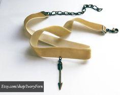 Velvet choker, beige choker jewelry, gift for her, gift for girlfriend, choker necklace, modern necklace, unusual necklace, ethnic necklace by IvoryFern on Etsy