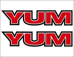 """6"""" YUM pair FISHING Logo Decal vinyl sticker graphic:   Yum Fishing Logos / PAIR / Vinyl Watercraft Vehicle Graphic Window Sticker Decals. SIZE: 1.29"""" x 6"""". *Looking for a custom size? Contact us (prices will vary). Die cut from premium vinyl. Decals are great for Car/Truck Windows/Bumpers, ATV/UTV, Snow/Surf Boards, Skateboards, Boats/Snowmobiles, Walls/Mirrors OR any smooth clean surface so the possibilities are endless! Decals can make a great gift idea for anyone and any occasion. ..."""