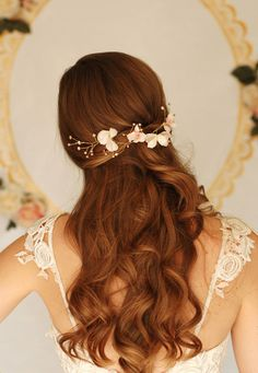Bridal apple blossom head piece, flower hair piece, pearl headpiece, blush headpiece, handmade silk flower headpiece