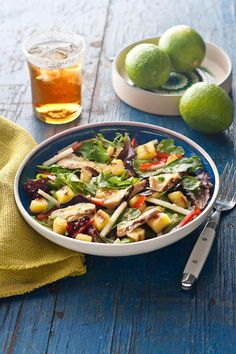 Grilled Chicken & Pineapple Salad with Pineapple-Serrano Dressing -- Served straight off the grill or chilled as a make-ahead salad, this tasty healthy living recipe will please everyone.