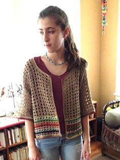 Wonderfully simple pattern for a loose cardi / shrug - free on Ravelry