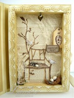 a home, a nest..., shadow box card, vintage, shabby chic, neutrals