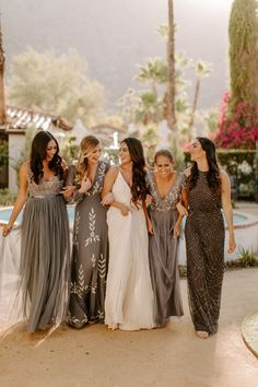 25 Stunning Mismatched Bridesmaid Dresses to Embrace Bridesmaid Dresses Summer Bridesmaid Dresses, Grey Bridesmaids, Mismatched Bridesmaid Dresses, Bridesmaids With Different Dresses, Alternative Bridesmaid Dresses, Charcoal Bridesmaid Dresses, Patterned Bridesmaid Dresses, Wedding Bells, Wedding Gowns