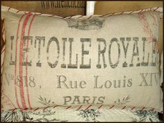 Royale French Feedsack Pillow