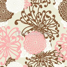 Art Nouveau Flower seamless pattern