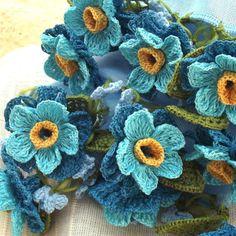 立体レース 花のコットンストール ライトブルーの画像3枚目
