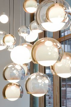 SCONFINE SFERA spherical pendant lamp design provides an impressive lighting effect due to their partly transparent luminaire unit with chrome coating. Besides directly emitted light, light is reflected inside the luminaire unit, making i Interior Lighting, Home Lighting, Modern Lighting, Lighting Design, Pendant Lighting, Pendant Lamps, Luxury Lighting, Lighting Ideas, Industrial Lighting