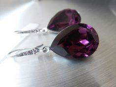 Purple Earrings - Crystal Purple Earrings - Crystal Swarovski Cabochon - Ear wires Zirconia. $26.00, via Etsy.