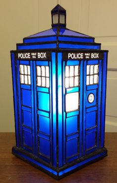 My stained glass Tardis. This is the 3rd Tardis I've made and finally was able to integrate text/graphics into this one. Everything turned out pretty well though next time I want to try a round top...
