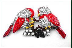 Enamel & Rhinestone Love Birds Pin