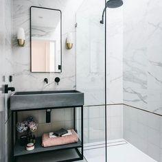 Small Marble Bathrooms Marble Bathroom Renovations Carrara Marble Bathroom Black Tapware With Marble Bathroom Tiles Small Bathroom Ideas Wet Room Walk In Shower Bad Inspiration, Bathroom Inspiration, Concrete Sink, Concrete Bathroom, Bathroom Goals, Bathroom Ideas, Bathroom Organization, Bathroom Storage, Bathroom Inspo