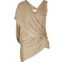 HELMUT LANG Frosted Gold Draped Top (€145) found on Polyvore