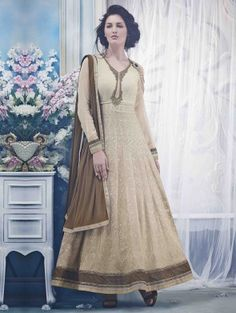 Cream Cotton Anarkali Suit with Embroidery and Handwork