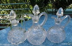 Lot of 3 EAPG Pressed Pattern Glass Co Clear Glass Cruets with Stoppers
