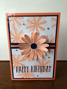 Orange Daisy Card - All About Decoration Homemade Birthday Cards, Happy Birthday Cards, Homemade Cards, Happy Birthdays, Birthday Greetings, Daisy Delight Stampin' Up, Bee Cards, Fun Fold Cards, Stamping Up Cards