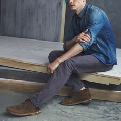 Pair a chambray shirt with colored denim.
