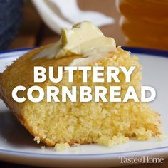 Buttery Cornbread Recipe - A friend gave me this recipe several years ago, and I think it's the best cornbread recipe I've tried. I love to serve the melt-in-your mouth homemade. Buttery Cornbread Recipe, Homemade Cornbread, Sweet Cornbread, Homemade Pancakes, Cornbread Cake Mix Recipe, Cornbread Recipe From Scratch, Cornmeal Cornbread, Jiffy Cornbread Recipes, How To Make Cornbread