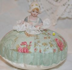 Porcelain Half Doll Pincushion