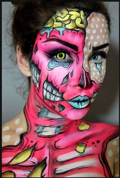 maquillaje pop art de halloween (Cool Paintings Effects) Halloween Makeup Looks, Halloween Kostüm, Halloween Cosplay, Halloween Costumes, Facepaint Halloween, Vintage Halloween, Maquillage Halloween Zombie, Beautiful Halloween Makeup, Pop Art Zombie