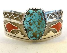 MICHAEL PERRY Navajo BRACELET #8 Turquoise, Mediterranean Coral, Sterling Silver