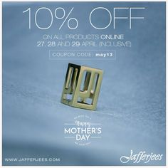 This Mother's day Jafferjees offers a 10% discount on all online purchases from 27th April till 29th (inclusive) April 2018. Read our blog https://jafferjees.blogspot.com/2018/04/a-crowning-glory-from-god.html #mothersday #mothers_day #mother #promotion #onlinesales #onlineshopping #leathergoods #ladies #handbags #watchescase #lipstickcase #jafferjees