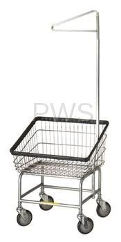 R&B Rolling Front Load Laundry Cart/Chrome Basket P/N Commercial Laundry Basket w/Single Pole Rack on Wheels Laundry Cart, Laundry Room, Wire Laundry Basket, Commercial Laundry, Chrome, Rolls, Wheels, York Apartment, Organization Ideas