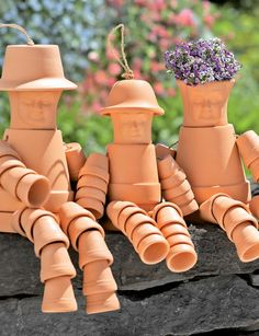 Pot people with faces and hats OMGardening Goodness! from Gardener's Supply Company