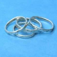 3 Stackable Rings thin hammered silver bands Sprinkled by phbeads, $40.00