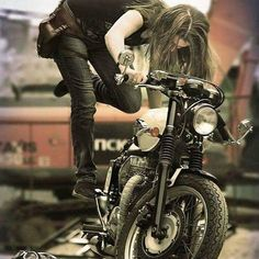 This is what I looked like with my very first motorcycle (that old Virago was a PITA to kick start! Lady Biker, Biker Girl, Moto Vespa, Harley Davidson, Chicks On Bikes, Cafe Racer Girl, Bobber Motorcycle, Motorcycle Posters, Bobber Chopper