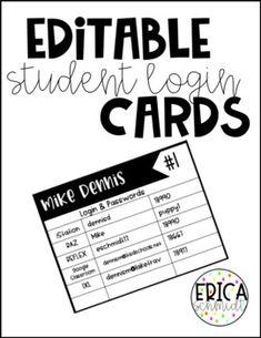 Student Login Cards by Erica Schmidt Teacher Cards, Teacher Tools, Teacher Resources, Teacher Sites, Teaching Technology, Teaching Biology, Teaching Computers, Student Login, Student Info