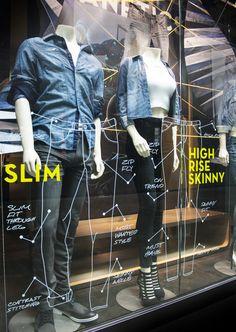 G by guess denim window display - denim dna / jeanetics Denim Window Display, Shop Window Displays, Display Shop, Display Ideas, Shop Interior Design, Retail Design, Store Design, Retail Windows, Store Windows
