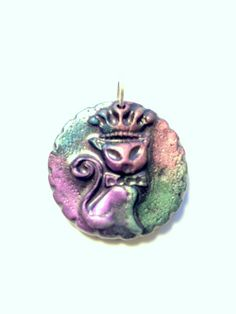 Pretty Princess Kitty Handmade Polymer Clay Pendant or Focal Bead by PennysLane on Etsy