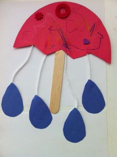 spring crafts for toddler, rain drops and umbrella craft/puppet Art Activities For Toddlers, Spring Activities, Preschool Activities, Crafts Toddlers, Preschool Projects, Free Preschool, Family Activities, Daycare Crafts, Classroom Crafts